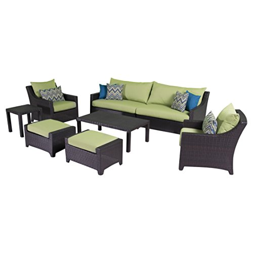 RST Brands Deco 8-Piece Sofa and Club Chair Deep Seating Set with Cushions, Ginkgo Green