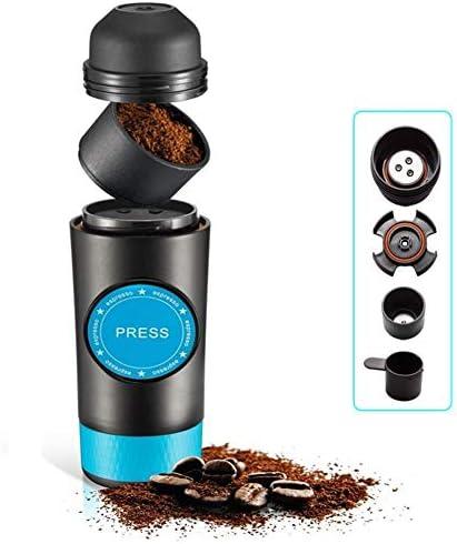FXXJ 2 in 1 Kapsel & gemahlene Kaffeemaschine, Mini Espresso tragbare Kaffeemaschine Heiß und Kalt Extraktion USB elektrische Kaffeepulverherstellung Maschine