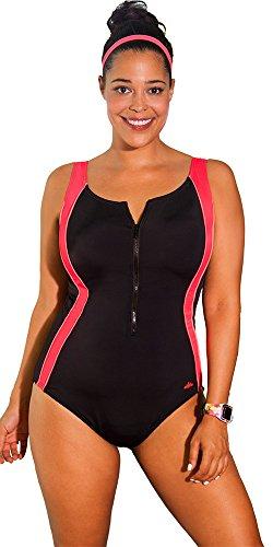 Aquabelle Women's Plus Size Chlorine Resistant Xtra Life Lycra Coral Zip Swimsuit 22 Multi