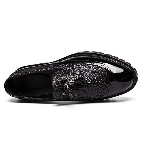 Chaussures Style Business Sport La Mode Mxnet Noir Bottom De Épissage Avec British Des Pointu Driving Casual Tendance Thick Mocassins Hommes Verni Tassel Oxford Cuir qZUrwTq1