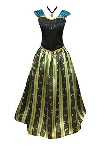 Adult Women Frozen Anna Elsa Coronation Dress Costume Princess Costume (XS Women Size, Olive)