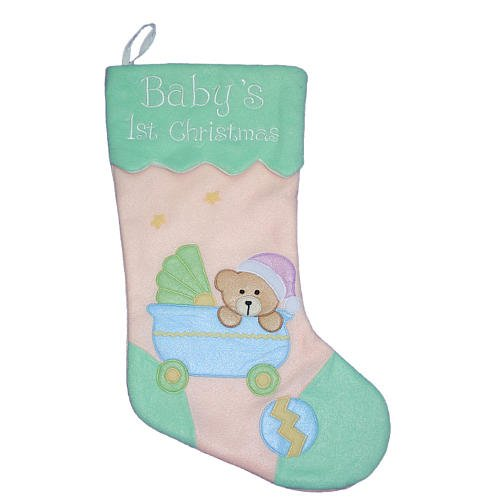 Baby's First Christmas 17'' Stocking with Bear in Baby Carriage