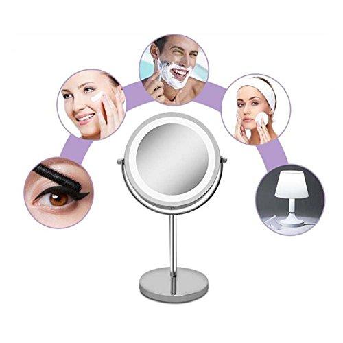 Espejo De Maquillaje Iluminado Doble Cara 1X/10X Luces LED De Aumento 360 Giratorio Acero Inoxidable Acabado De Cromo Pulido...