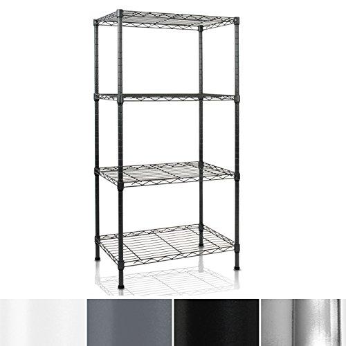 casa pura Metal Storage Shelves | Wire Shelving Organizer for Kitchen, Garage or Bathroom | Black 4 Tier | 22