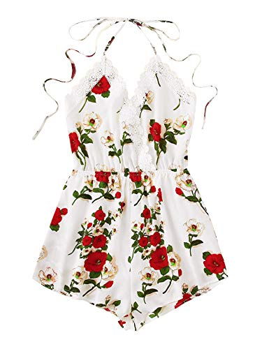 WDIRARA Women's Lace Trim Floral Print Sleeveless Satin Sexy Halter Romper White M