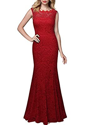 Miusol Women's 1920'S Retro Floral Lace Sleeveless Halter Bridesmaid Long Dress