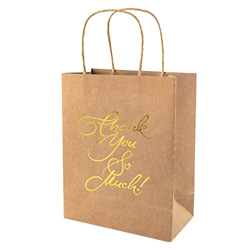Crisky Kraft Paper Thank You Gift Bags Birthday & Wedding Party Favor Bags for Hotel Guests, Party Favor Bags, Print Thank You So Much, Candy Buffet Bags, set of 25 Load-bearing 8 lbs (Thank You For Gifts)