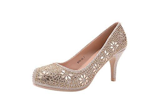 Gem Sparkle - Mila Lady MAYRA06 Cinderella Princess Sparkle Crystal Gem Rhinestone Glitter Formal Pumps, Wedding Shoes Evening Dress Heels - Champag 7