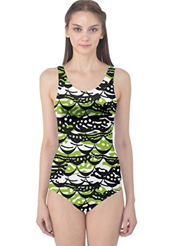 CowCow Womens Dark Green Crocodile Scale Print One Piece Swimsuit - 5XL