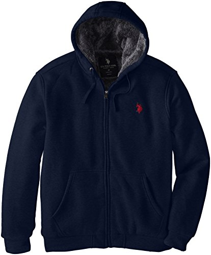 U.S. Polo Assn. Men's Big-Tall Sherpa Lined Full Zip Fleece Hoodie, Classic Navy, 2X