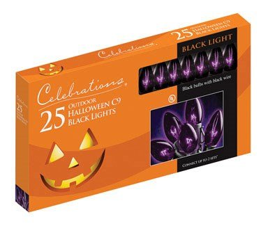 Celebrations Halloween C9 Light Set, 25 Lights, Black Bulbs W/black Cord ()