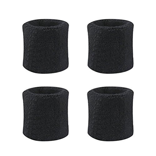 WarmShine 4 Pack Wrist Sweatband Sport Wristband Cotton Elastic Sweatbands for Fitness Running Basketball Badminton Tennis Fitness, Black