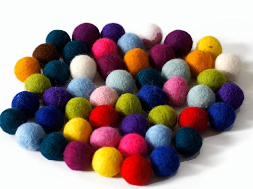 New Mix Holiday - 50 Felt Balls, 1 inch Made of 100% Merino Wool for Decoration, DIY and Creative Crafts Such as Garlands, Coasters, mobiles and Wreaths