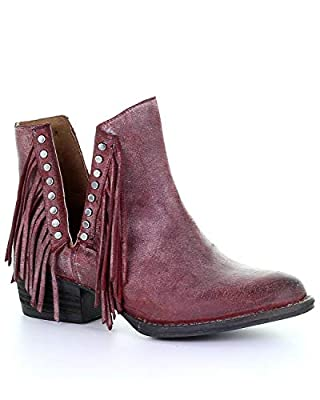 Circle G Women's Wine Studded Fringe Booties Round Toe