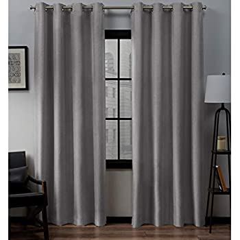 Dove Grey Exclusive Home Heath Textured Woven Blackout Grommet Top Curtain Panel Pair 52x96 Exclusive Home Curtains EH8128-01 2-96G
