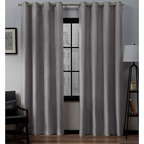 Pair Polyester Curtains - Exclusive Home Curtains Loha Linen Window Curtain Panel Pair with Grommet Top, 54x96, Dove Grey, 2 Piece