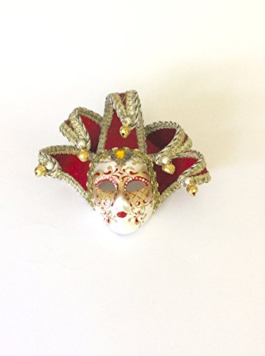 Red Brocade Jollini Miniature Ceramic Venetian Mask