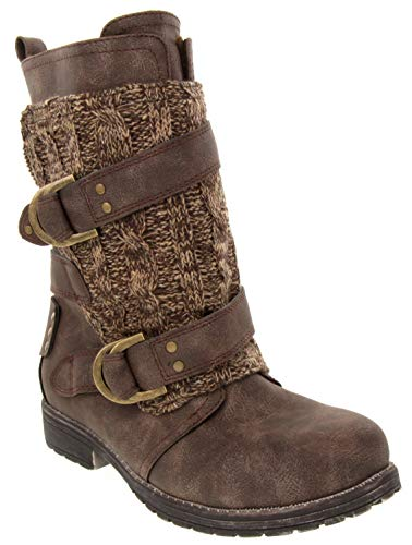 LONDON FOG Womens Jupiter Winter Moto Boot with Cable Knit Overlay Brown 9