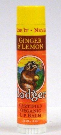Badger Certified Organic Lip Balm, Ginger & Lemon 0.15 Oz