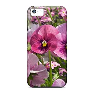 Tpu AnnetteL Shockproof Scratcheproof Pink Flowers In The Field Hard Case Cover For Iphone 5c