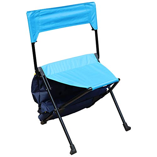 Zenree Portable Folding Camping Chairs - Backpack Sports Chair/Stool with Cooler Bag for Outdoor Traveling, Picnic, Hiking, Fishing, Blue