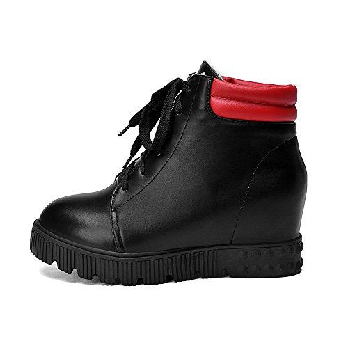 Amoonyfashion Mujeres Blend Materials Round Closed Toe Kitten-heels Surtido De Botas De Color Negro
