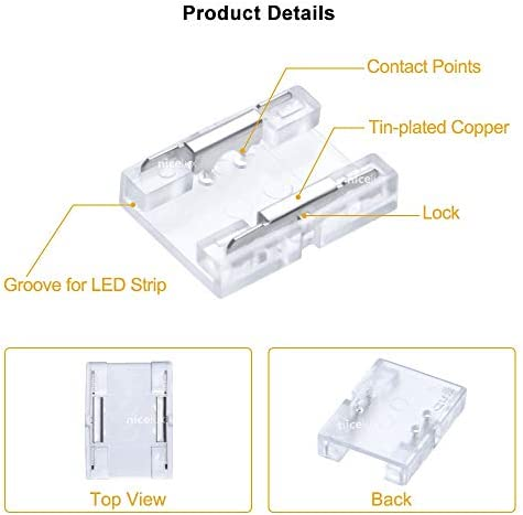 Seamless COB LED Strip Connector 10mm 2Pin Non-Waterproof IP20 Board to Board Middle Gapless Splicer 10 PCS