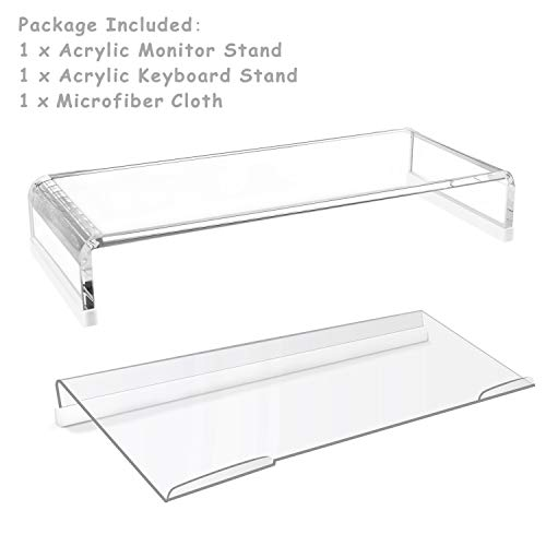 Richboom Clear Acrylic Monitor Stand, Monitor Riser with Silicone Anti-Slip Case, Acrylic Keyboard Stand for Office, Home, - Acrylic Clear Keyboard