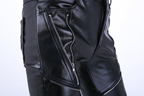 Iodpy Hombres Hip Hop Hipster Negro Pantalones de Cuero de imitaci/ón Pantalones Casuales