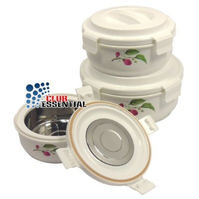 3pc Hot&Lock Pot Insulated Food Warmer, Perfect Locking with silicon Rubbert gasket keep food hot, fresh and air tight, (Travel friendly)