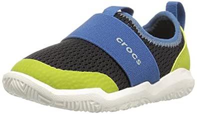 Crocs Unisex Kids Swiftwater Easy-on Shoe, Black/Ocean, C6