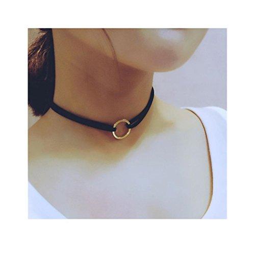 ManxiVoo Leather Choker, Hot Sales Womens Vintage Hippy Chocker Leather Necklace Punk Velvet Collar (Black)