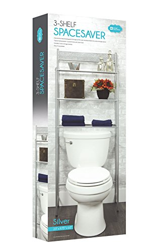3 Shelf Over The Toilet Spacesaver Easy to Assemble Silver Metal by DINY Home Collections