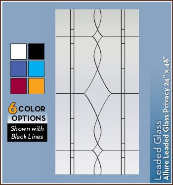 Allure Leaded Glass Black Privacy Static Cling Window Film - 24 in x 48 in