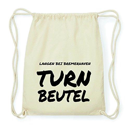 JOllify LANGEN BEI BREMERHAVEN Hipster Turnbeutel Tasche Rucksack aus Baumwolle - Farbe: natur Design: Turnbeutel