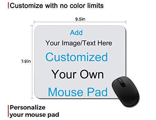 Custom Gaming Mouse Pad Gift - Add Photo, Text, Logo or Art Design and Make Your Own Customized Mousepad. Personalized Non-Slip Rubber Mouse Mat for Desktops, Computer, PC and Laptops 9.5x7.9 Inches.