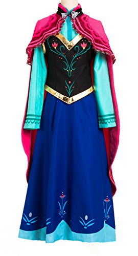 Adult Anna Frozen Costume 6PCS Princess Lace Paisley Chiffon