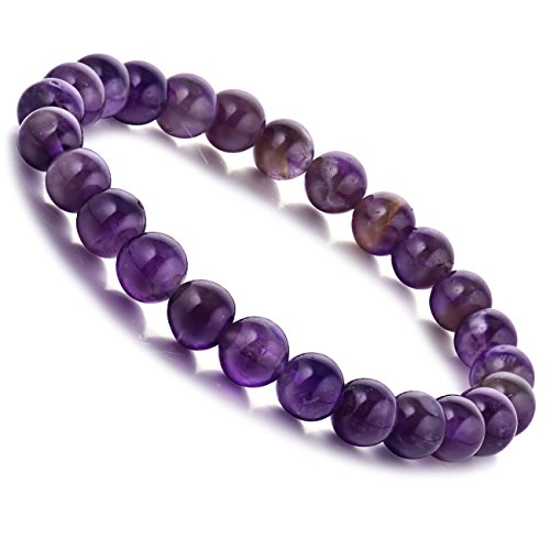 WRCXSTONE Natural 8mm Gorgeous Semi-Precious Gemstones Healing Crystal Stretch Beaded Bracelet Unisex