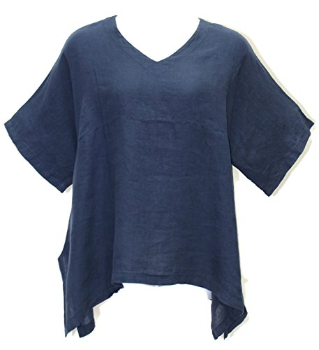 Match Point Women's Deep Indigo Linen Kimono Tunic S - 2X Oversized (1X (Bust 60
