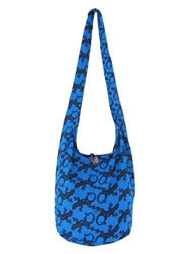 Lizard Sling Bag Hippie Hobo Crossbody Medium (Saphire Blue)