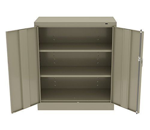 Tennsco 4218 24 Gauge Steel Counter-Height Welded Storage Cabinet, 2 Shelves, 150 lb. Capacity per Shelf, 36