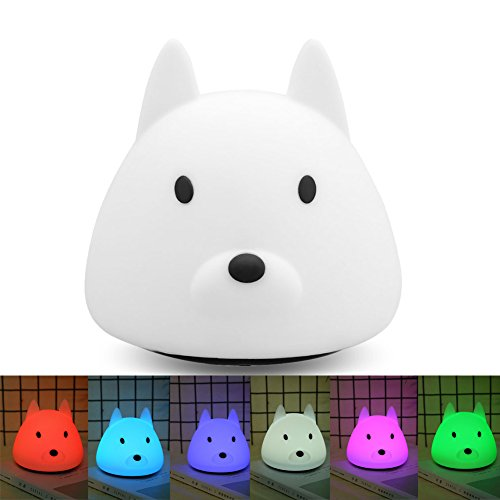 Colourful LED Silicon Dog Patting Lamp Night Light Decoration Gift ()