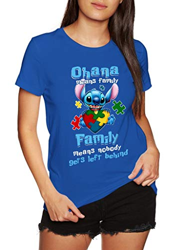 Stitch Autism Ohana Means Family - Funny Vintage Trending Awesome Gift Shirt (Unisex Royal Blue, L)
