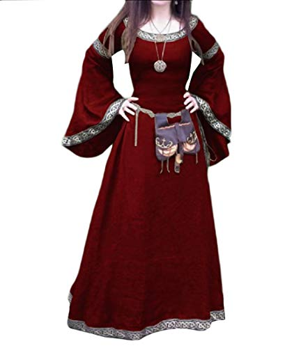 Medieval Costume Maxi Dress Red Horn Party Sleeve RkBaoye Retro Halloween Women's apwqgS