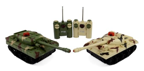 RC Fighting Battle Tanks - Set of 2 Abrams Remote Control Battling Tank Toys for Kids (Remote Control Army Tank)