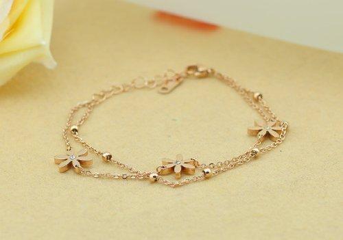 findout 14K rose gold plated titanium steel Swiss Diamond Daisy flower anklet /bracelets for women girls(f989) haDiHWn4MA