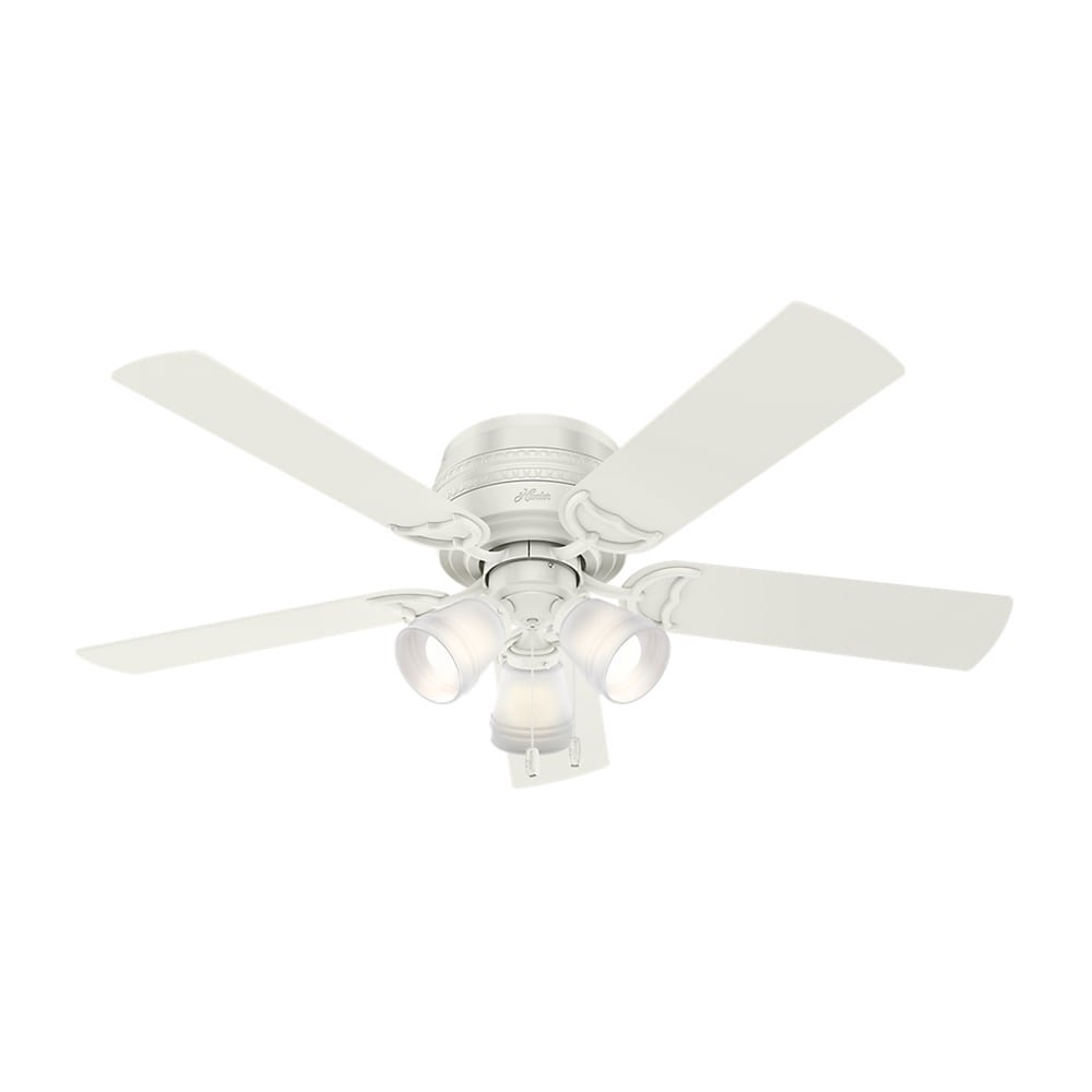 MD Group Ceiling Fan 52'' Low Profile Fresh White 3 Speed Reversible with LED Light Kit