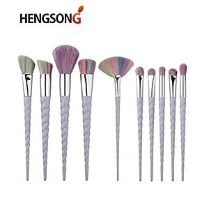 unicorn makeup brushes amazon. hengsong unicorn make-up brush set foundation eyebrow eyeliner blush cosmetic concealer, 10pcs /set (purple) makeup brushes amazon