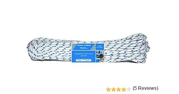 20 m Nautica Retorcido Bobina mm 4 blanca con segnalino Azul Braid Nautica Antica corderia Marra