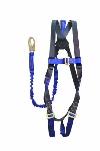 Elk River 48013 ConstructionPlus CP+ Polyester/Nylon Full Body Harness with Parachute Mating Buckles and 6' NoPac Lanyard, Fits Small to X-Large by Elk River (Image #1)